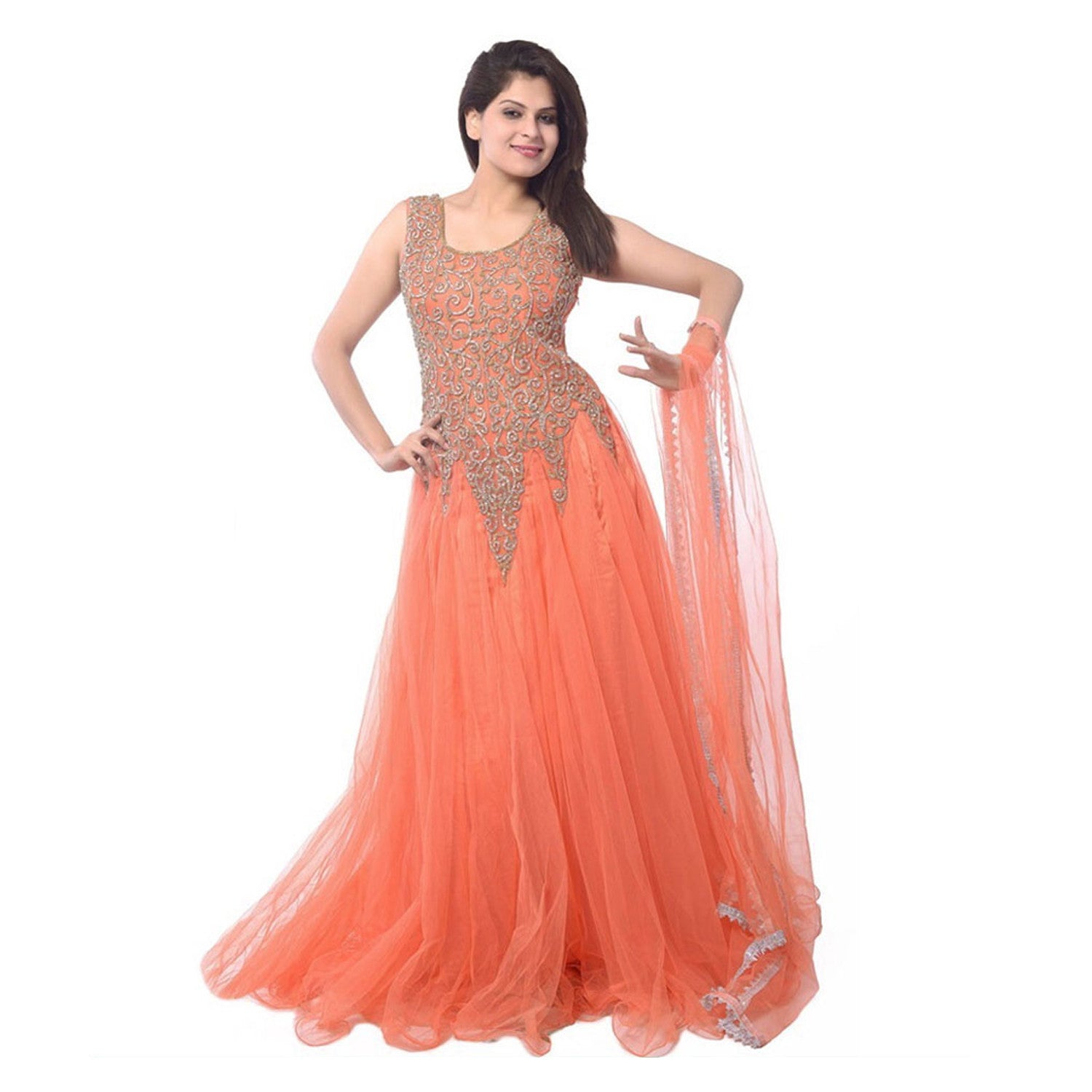 60c623f53ad Buy Orange Designer Net Embroidered Semi-Stitched Gown Online – z ...