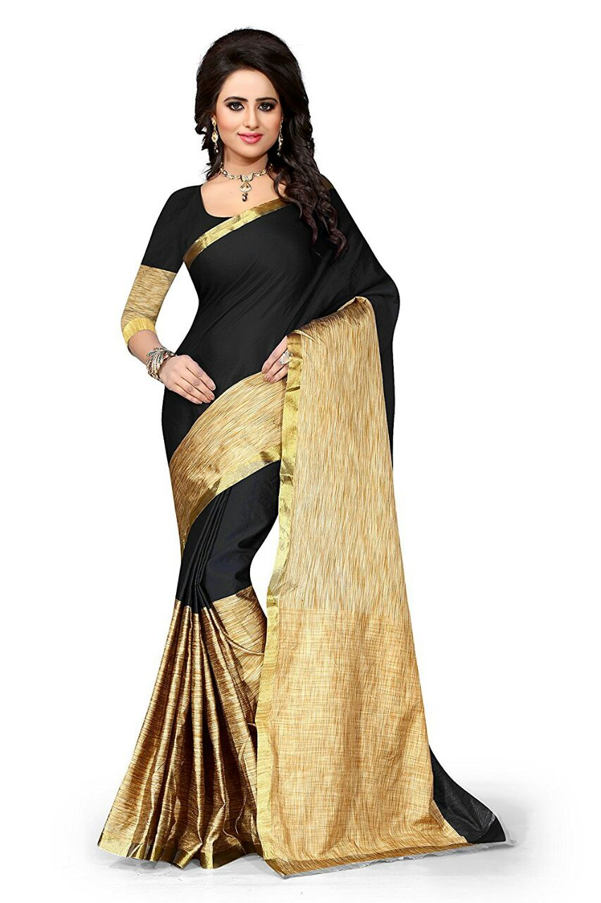 4371da0f55bab black color cotton silk saree – z fashion