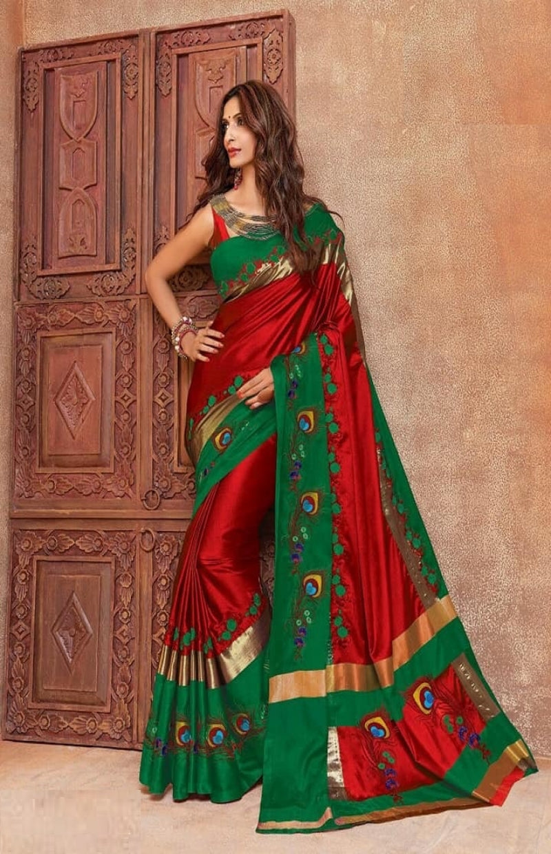 33962171a4 Red color cotton silk embroidered saree - z fashion