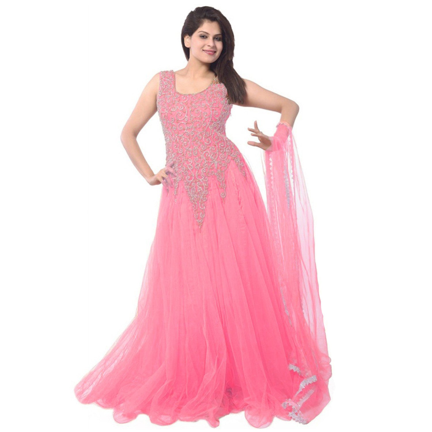 a9ab3103a Buy baby pink Designer Net Embroidered Semi-Stitched Gown online – z ...