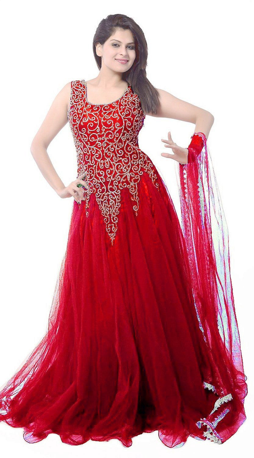 Buy Red Designer Net Embroidered Semi-Stitched Gown online – z fashion 3a52b174d