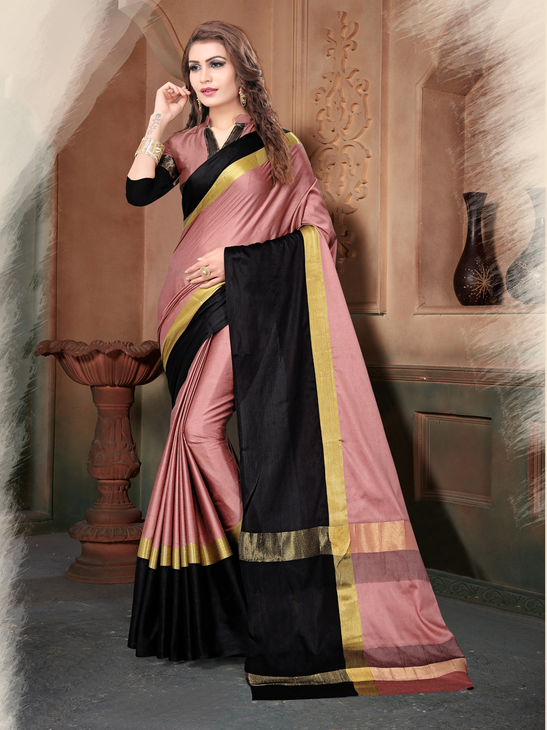 e2a93d3fa Gajari and Black Poly Silk Saree – z fashion