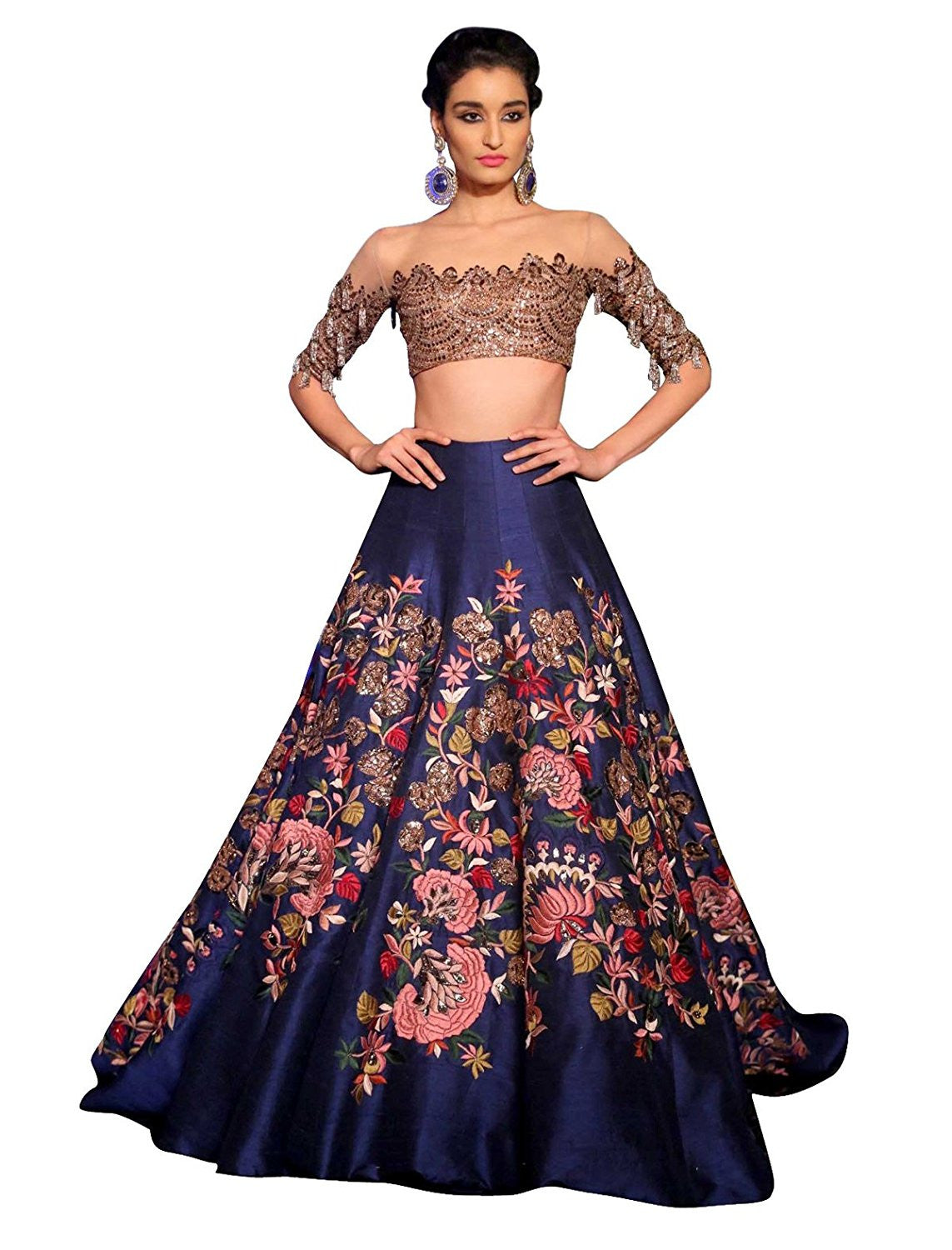 2b806c429 Buy Heavy Digital Flower Printed Banglory Silk Lehenga Choli Online ...