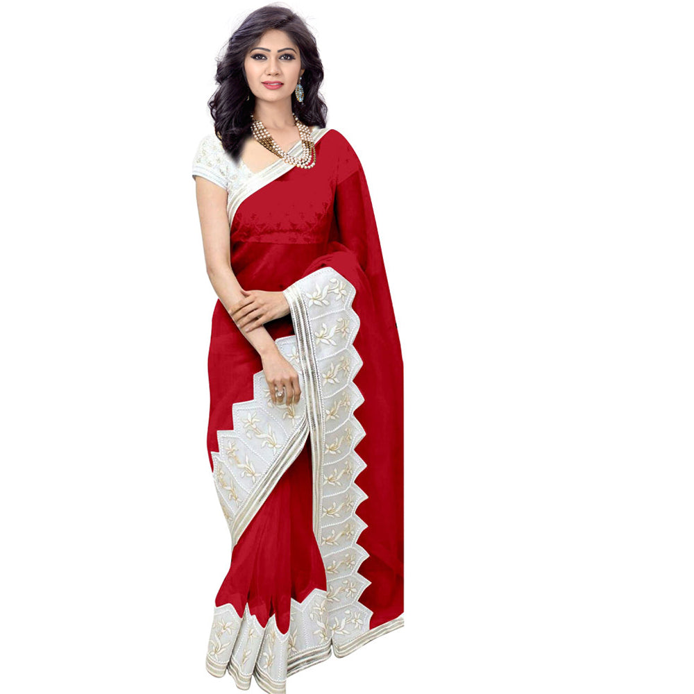 552386610c Red color saree KA_R from india, 100% genuine