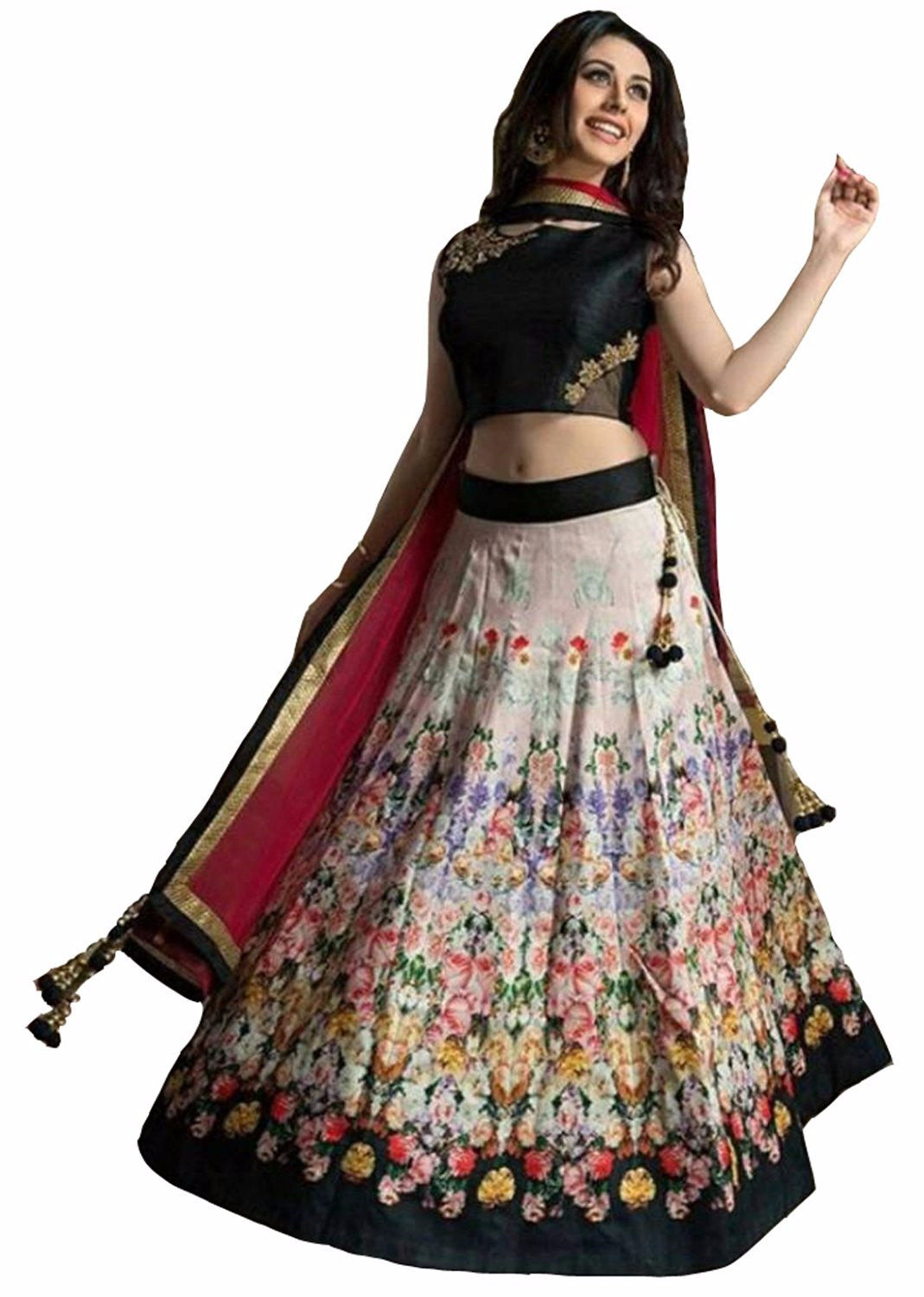 cac6d00de4 Buy New Black & Cream Taffeta Silk Printed Lehenga Choli Online – z ...