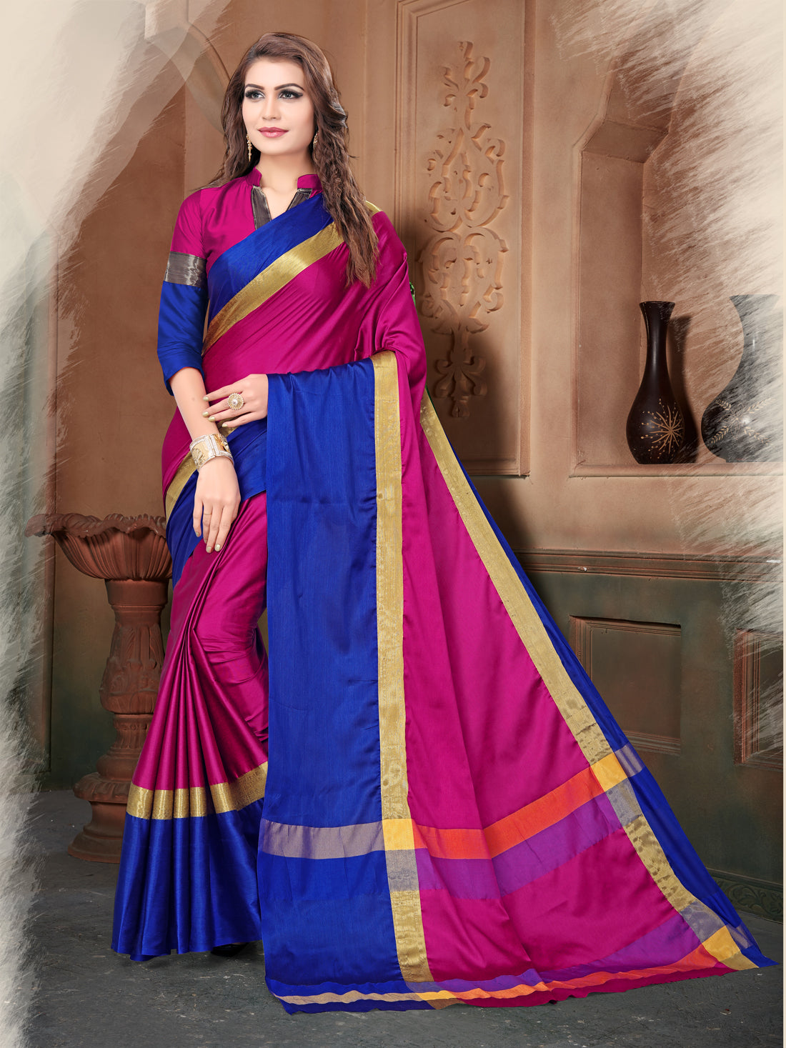 eaf25a7f4 Pink and Blue Poly Silk Saree – z fashion