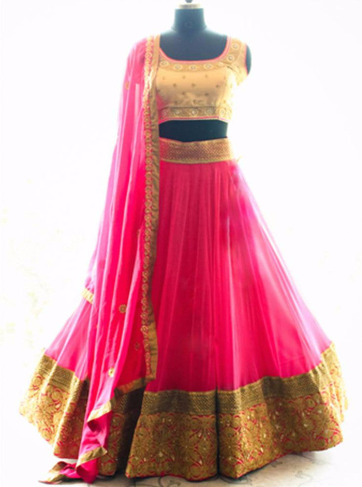 Buy Pink Net Embroidered Lehenga Choli With Gold Blouse Piece Online