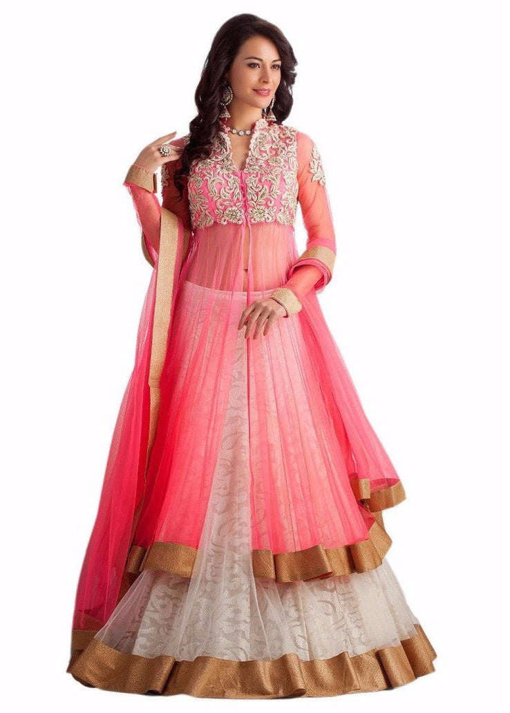 a0aa1a66d5 Buy Pink & White Embroidered Net Indo-Western Lehenga Online – z fashion
