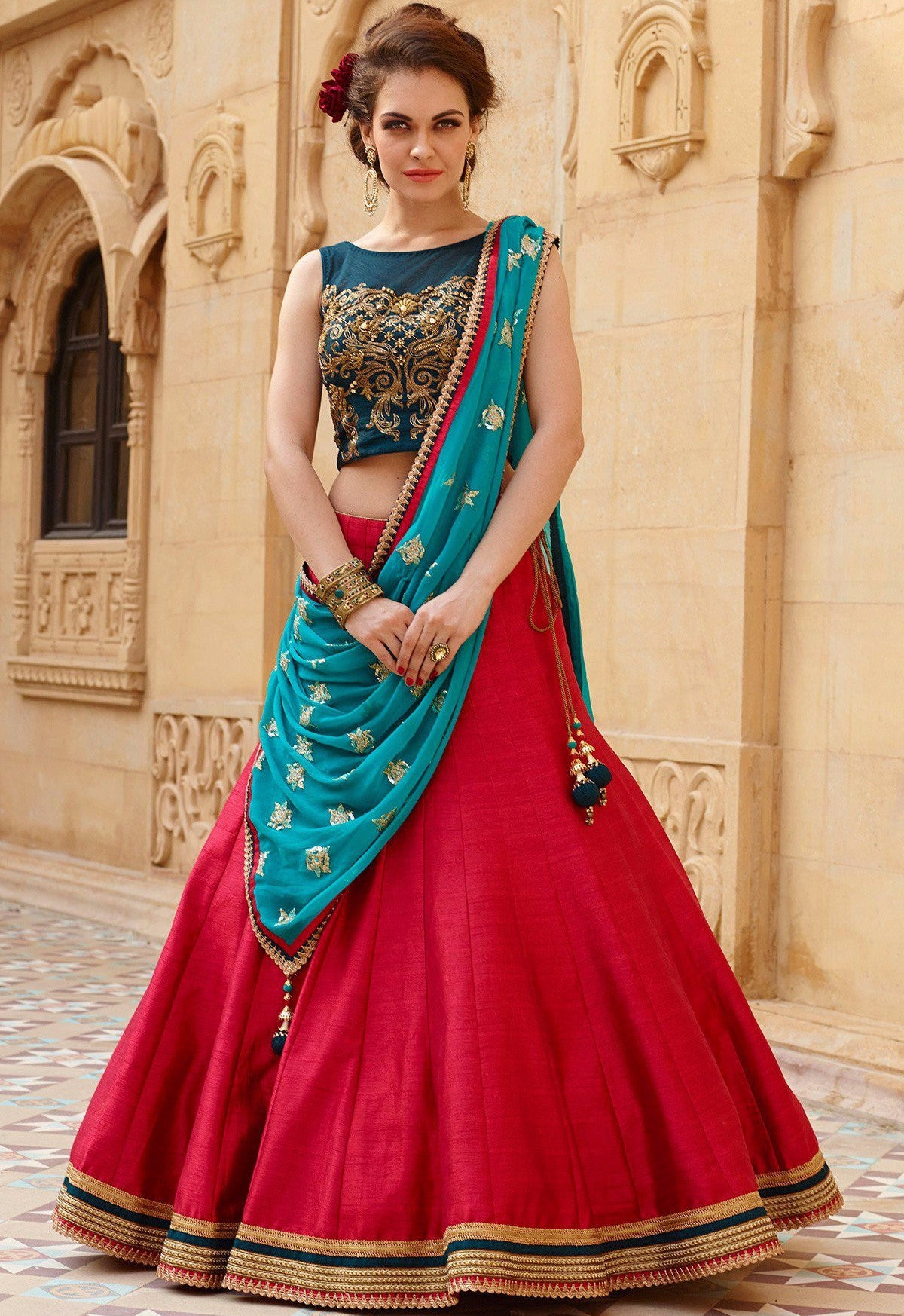 98e495a503 Buy Red & Blue Embroidered Semi-stitched Lehenga Choli Online – z ...