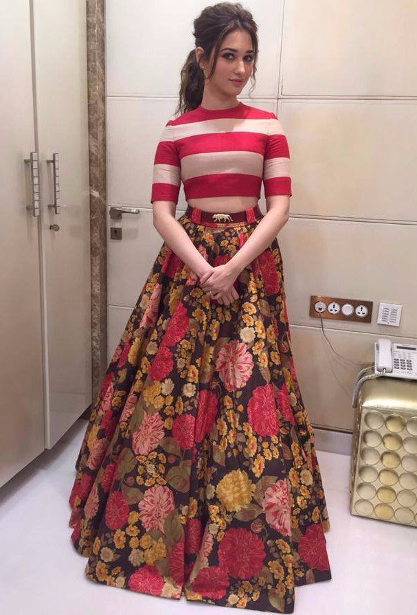 c9f4946eab0 Buy Tamanna Bhatia Red Crop Top Printed Lehenga Online – z fashion