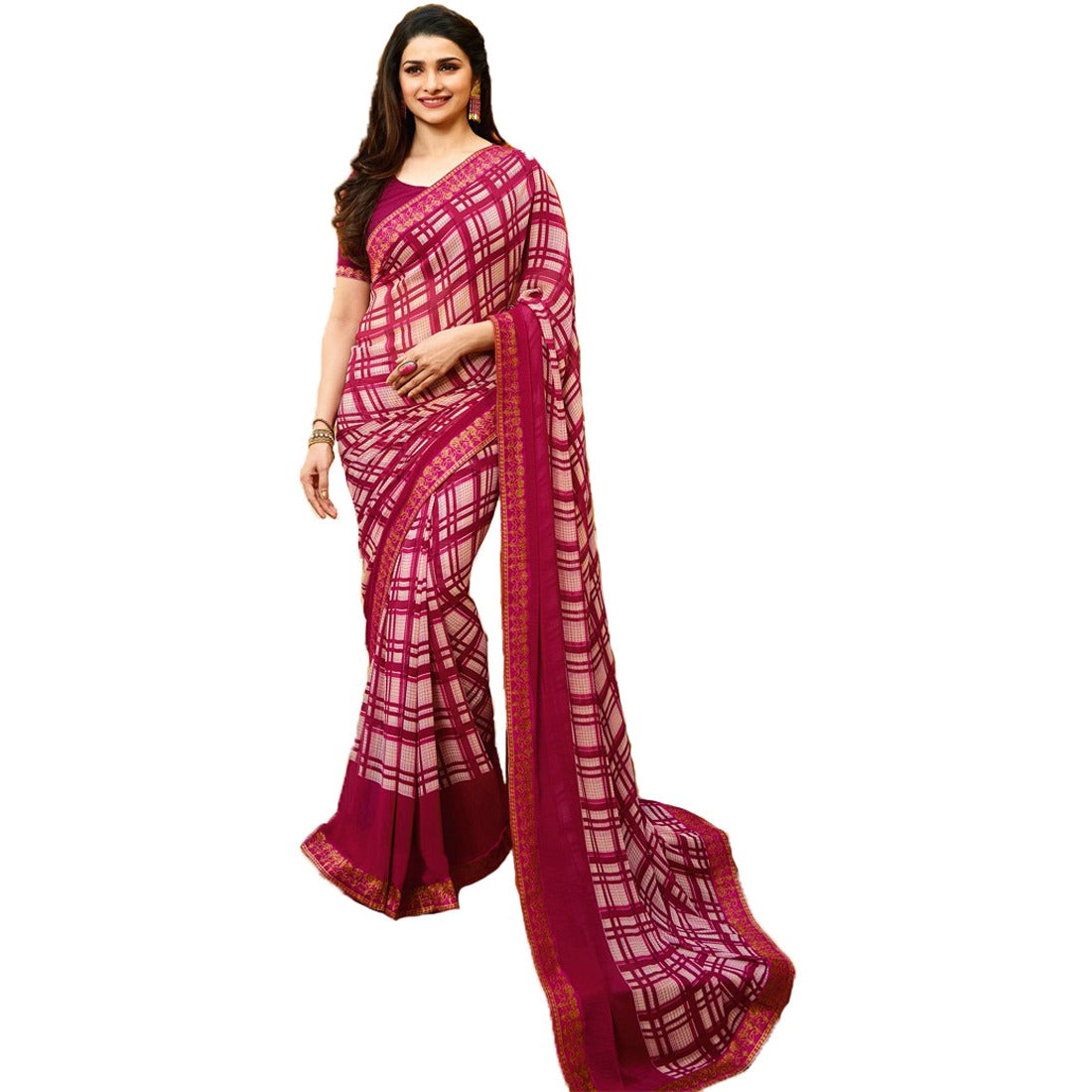 21ff271c7583cf Pink Color Georget saree from india, 100% genuine