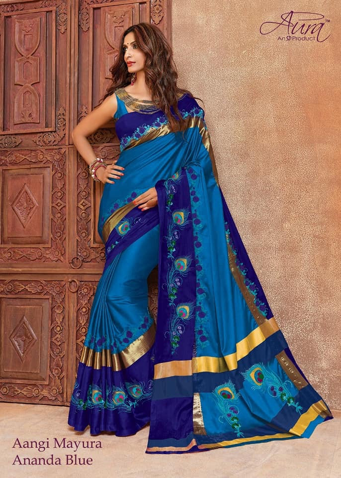 dab6ebe873b Skyblue And RB Cotton Silk Emboidered Saree – z fashion