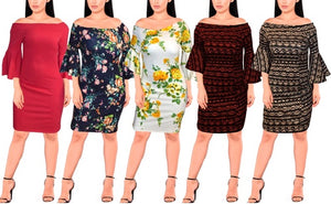 Plus Long Sleeve Mini Dresses