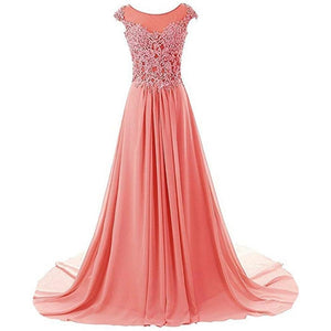 Chiffon Cap Sleeve Lace Long Dress *Plus
