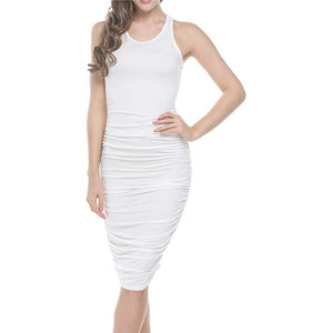 U-Neck Stretch Ruched Dress *Plus