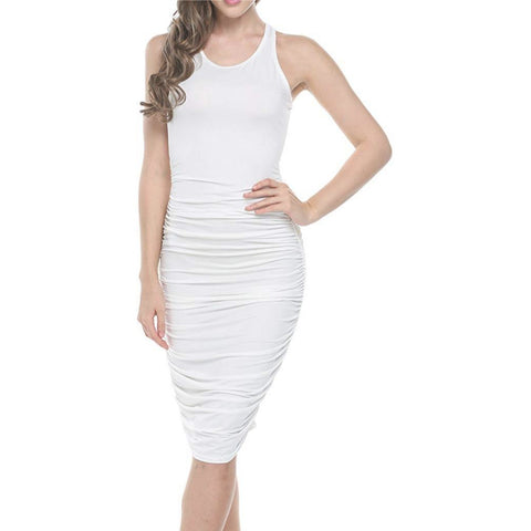 *Bodycon U-Neck Stretch Ruched Dress *Plus