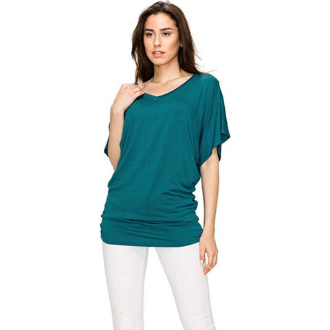 Ruched Short Sleeve V-Neck Dolman Drape Shirring Top *Plus