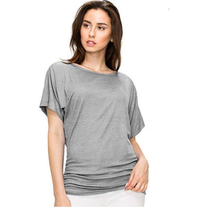 Ruched Short Sleeve Dolman Drape Shirring Top *Plus