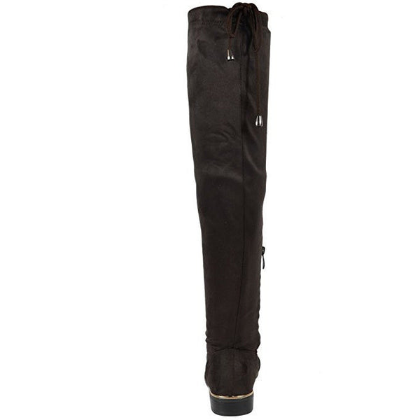 Faux Suede Strechy Thigh High Boots - MillionDollarGurl.Com