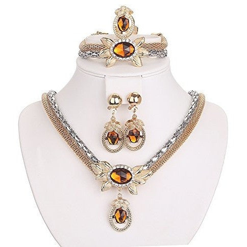 Gold Plated Oval Beads Jewelry Set - MillionDollarGurl.Com