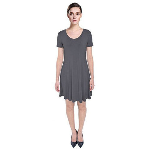 Solid Drapey Flared Loose Fit Short Sleeve Tank Dress *Plus - MillionDollarGurl.Com