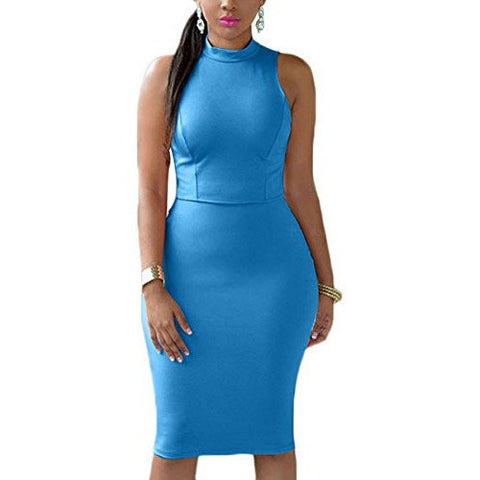 High Collar Back Hollow Out Sleeveless Bodycon Dress *Plus - MillionDollarGurl.Com