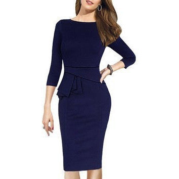 Peplum 3/4 Sleeve Working Casual Evening Pencil Dress *Plus - MillionDollarGurl.Com