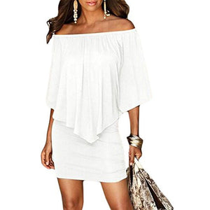 Off Shoulder Ruffles Bodycon Mini Dress *Plus - MillionDollarGurl.Com