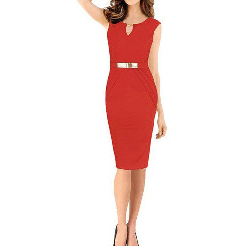 Sleeveless Business Working Evening Pencil Dress *Plus - MillionDollarGurl.Com