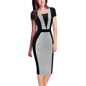 Round Neck Business Work Party Bodycon Dress *Plus - MillionDollarGurl.Com