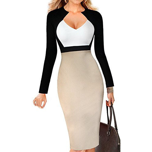 Chic V-Neck Color-Blocked Dress *Plus - MillionDollarGurl.Com