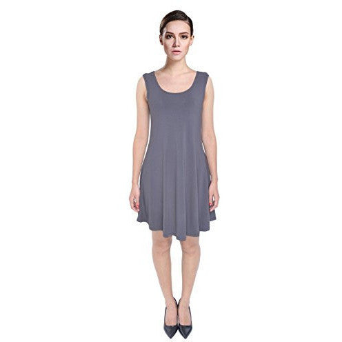 Solid Drapey Flared Loose Fit Sleeveless Tank Dress - MillionDollarGurl.Com