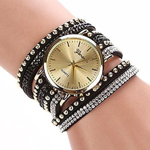 Crystal Rivet Bracelet Quartz Braided Winding Wrap Wrist Watch - MillionDollarGurl.Com