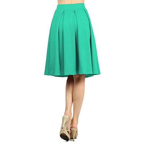 Versatile Stretchy Flared Pleated Skirt *Plus - MillionDollarGurl.Com