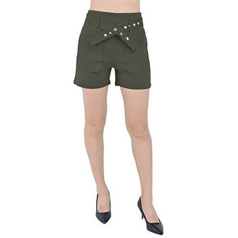 Patched Pockets Shorts With Faux Pas Button Belt *Plus - MillionDollarGurl.Com