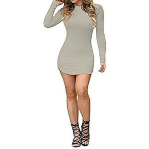 Bodycon Long Sleeve Mini T Shirt Dress - MillionDollarGurl.Com
