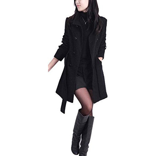 Double Breasted Thicken Wool Trench Coat With Belt - MillionDollarGurl.Com