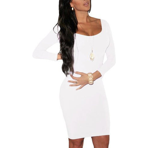 3/4 Crewneck Bodycon Mini Evening Dress - MillionDollarGurl.Com