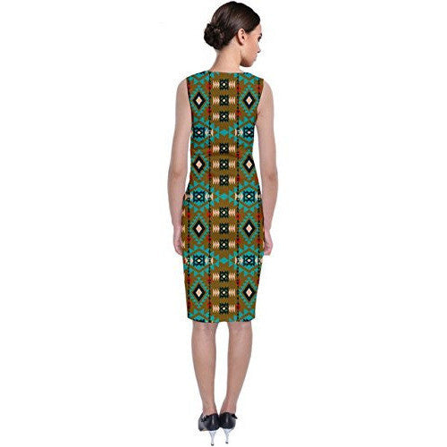 Tribal Aztec Classic Sleeveless Midi Dress *Plus - MillionDollarGurl.Com