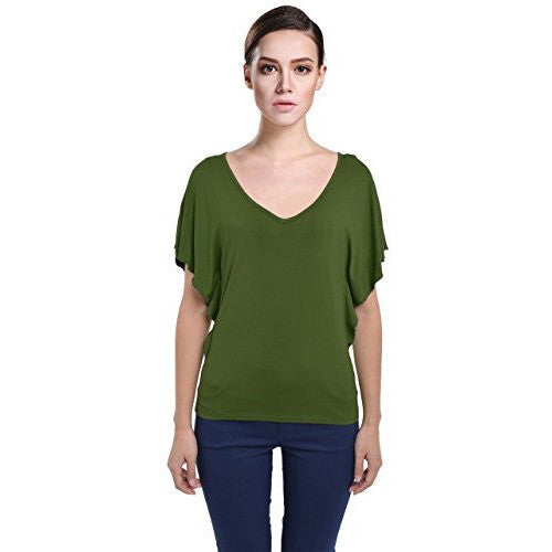 Low Cut Flutter Sleeve Blouse Top *Plus - MillionDollarGurl.Com