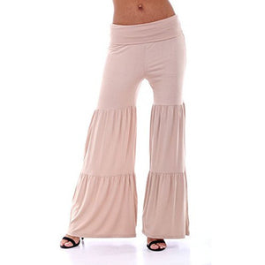 Flare Solid Knit Ruffled Palazzos Pants *Plus - MillionDollarGurl.Com