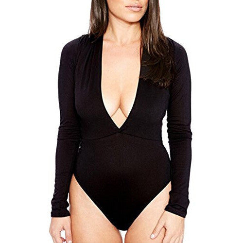 Deep V-Neck Tight Bodysuit *Plus - MillionDollarGurl.Com