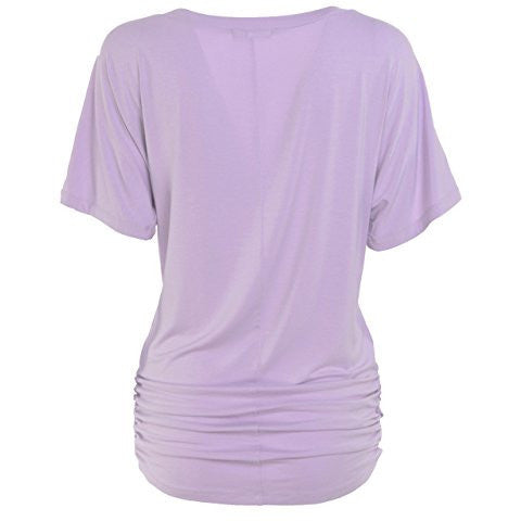 Ruched Short Sleeve V-Neck Dolman Drape Shirring Top *Plus - MillionDollarGurl.Com