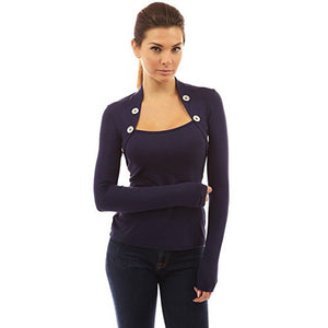 Bolero Button Long Sleeve Blouse - MillionDollarGurl.Com