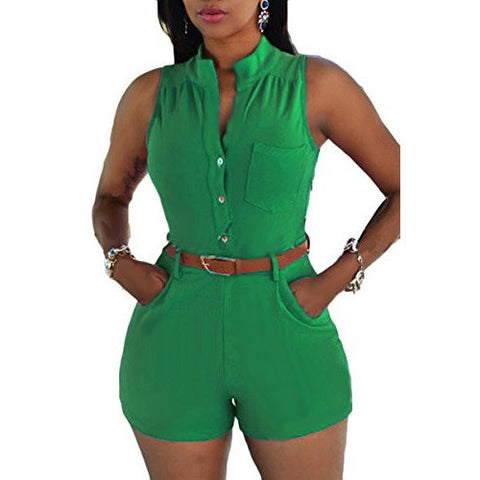 Belted Sleeveless Plunge V-Neck Short Rompers *Plus - MillionDollarGurl.Com