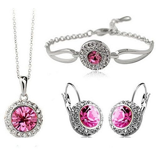 Platinum Plated Crystal Round Shaped Jewelry Set - MillionDollarGurl.Com