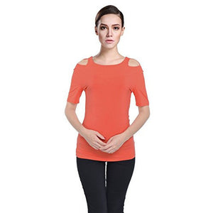 c894aab81eecd8 Round Neck Short Sleeve Cut Out Shoulder Top  Plus - MillionDollarGurl.Com