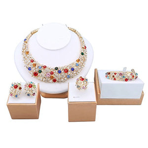 18K Gold Plated Crystal Jewelry Set - MillionDollarGurl.Com