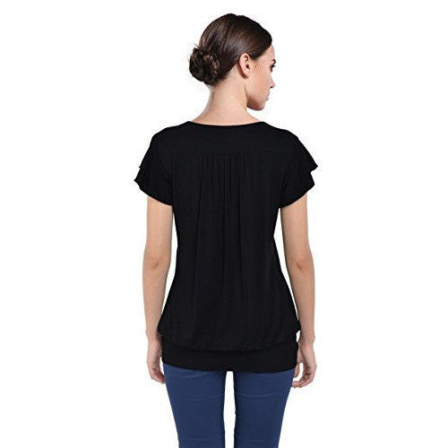Ruffle Sleeves V-Neck Top *Plus - MillionDollarGurl.Com