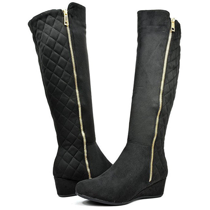 Quilted Elastic Panel Fur Interior Low Wedge Knee High Boots - MillionDollarGurl.Com
